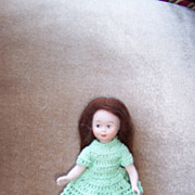 "Dear 5"" Artist Doll in Green Crochet Outfit"