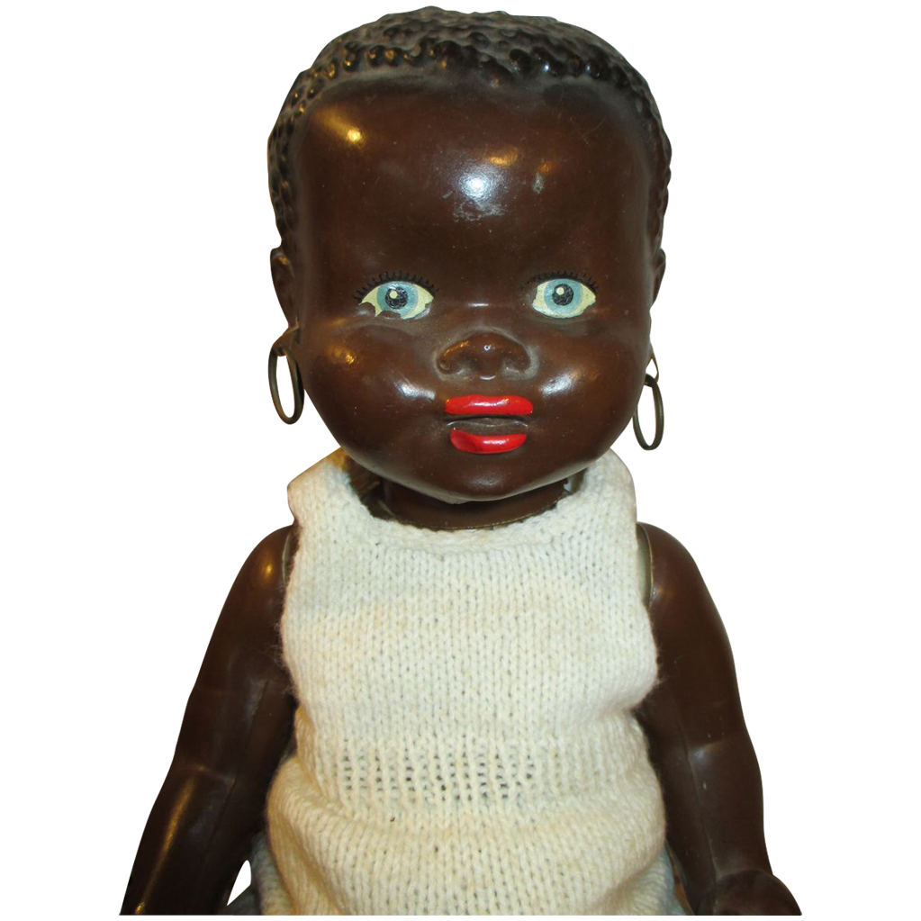 Adorable 1940 S Black Hard Plastic Baby Doll With
