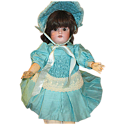 Stunning Teal Blue Dress with Matching Bonnet for your Antique Doll