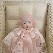 "Tiny 2"" Bisque Bonnet Artist Baby in Metal Baby Buggy"