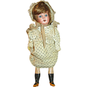 "Pretty 10"" German Bisque Head Doll - Perfect for Cabinet"