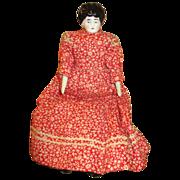 Small China Head Doll in Red Prairie Dress - Pretty