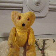 """Tiny 3"""" Jointed Teddy Bear - Golden - For Your Antique Doll"""