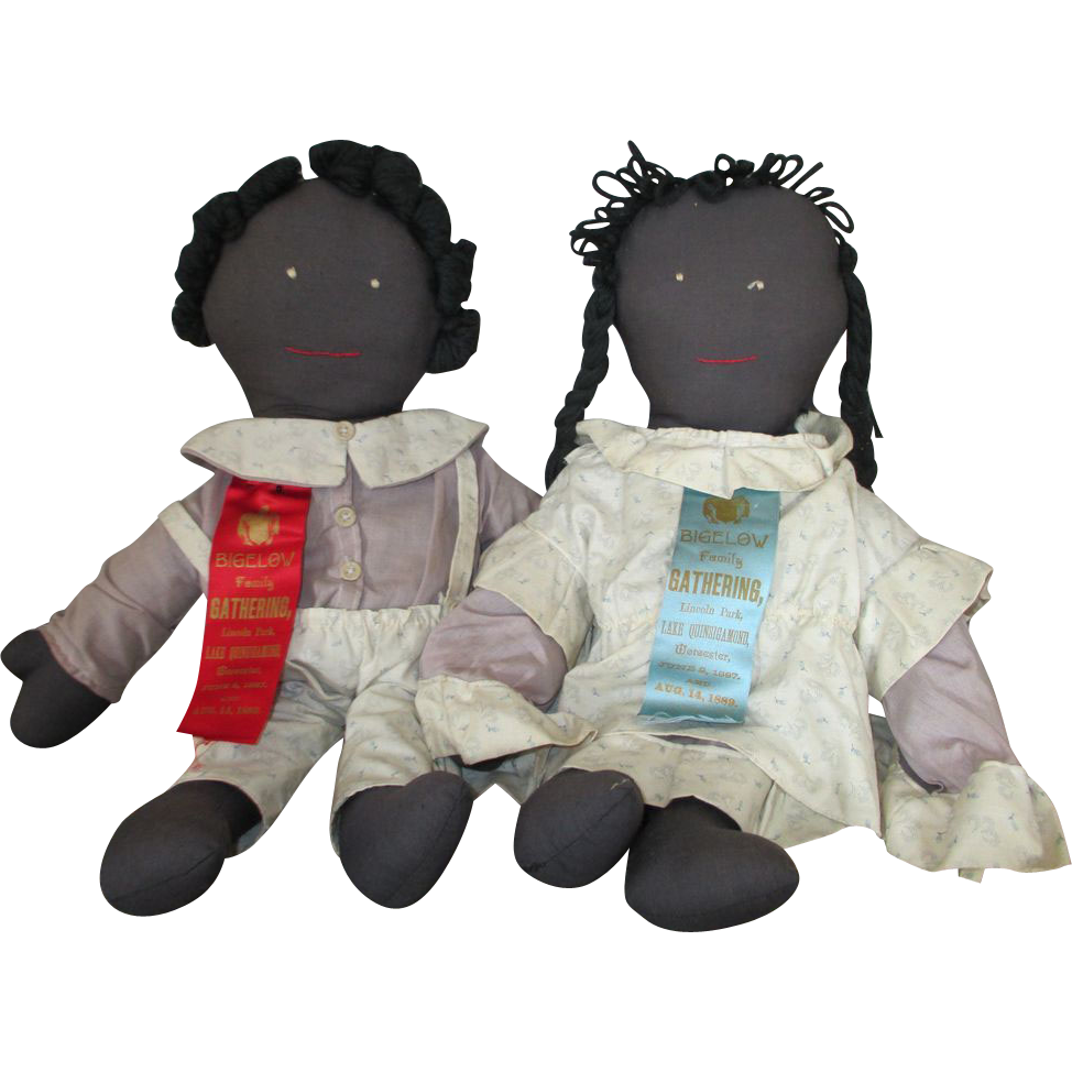 Black Rag Dolls - Boy and Girl - With Ribbons
