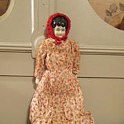 "Sweet 13"" China Head Doll in Paisley Dress"