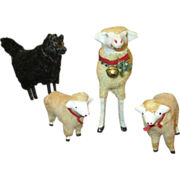 Rare German Putz Wolf with 3 Sheep - Ready to Display - Red Tag Sale Item