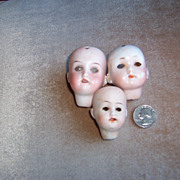 3 Antique Tiny Bisque Doll Heads For Projects or Parts