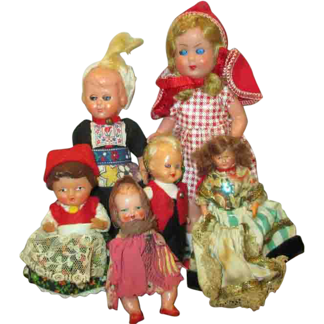 Group of 6 Tiny Vintage Dolls for Doll House or Room Box