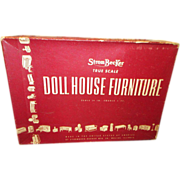 1930's Strombecker Wooden Doll House Kitchen in Original Box - Red Tag Sale Item