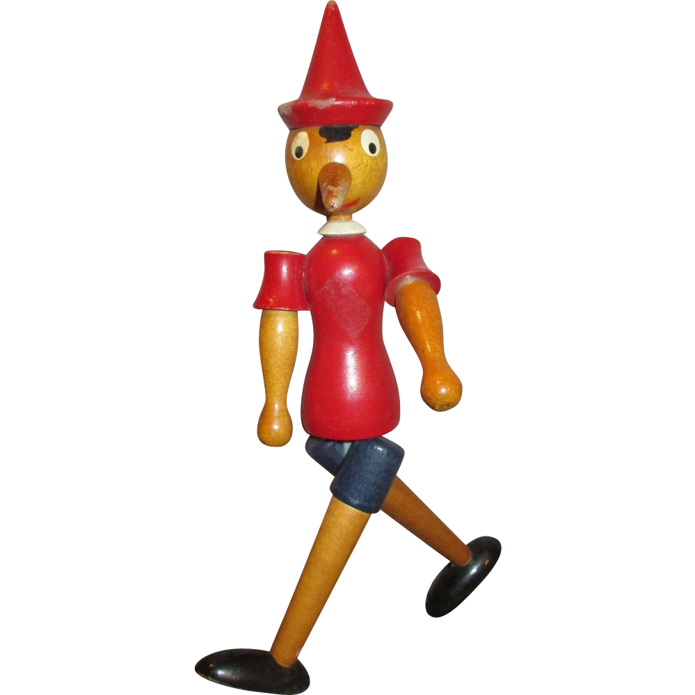 Vintage Wooden Pinocchio Doll Can Sit Or Stand Turns