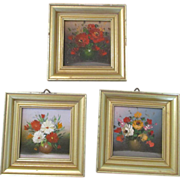 Miniature Oil Paintings - Perfect for Doll House or Room Box - Set of 3
