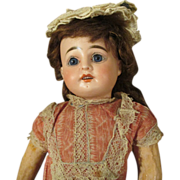 """ON HOLD FOR M.S. - Adorable 15"""" Antique French Bisque Head Doll in Original Dress"""