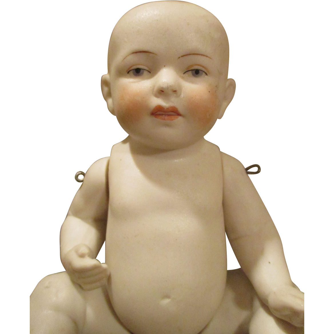 Antique All Bisque Baby Boy Doll with Pensive Look