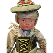Pretty Antique Black Forest Celluloid Doll in Original Costume