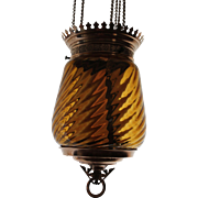 Antique Amber Swirl Hall Hanging Oil Lamp