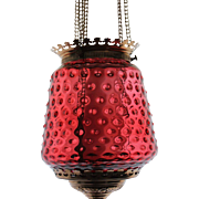 Antique Cranberry Hobnail Oil Hall Lamp
