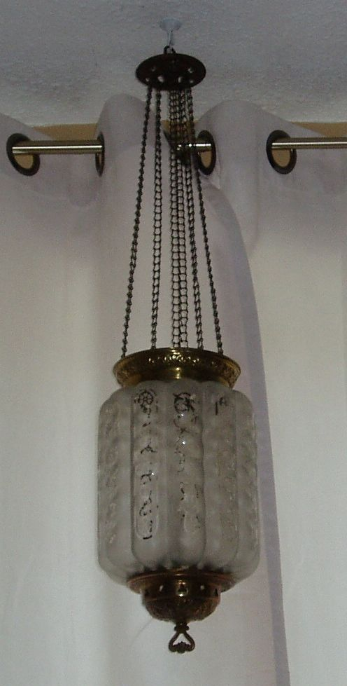 Antique satin over clear glass hanging oil kerosene hall lamp