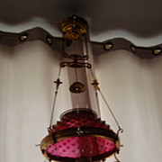"Antique 14"" oil kerosene ruby hobnail glass shade hanging lamp"