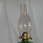 Antique green glass Bullseye table oil lamp