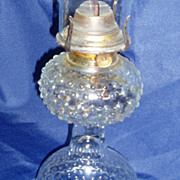 Clear hobnail oil lamp