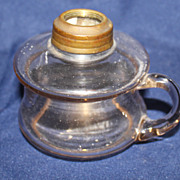 Miniature clear glass finger oil lamp