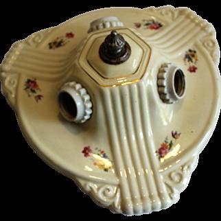 Porcelain Deco 3 Bulb Ceiling  Fixture
