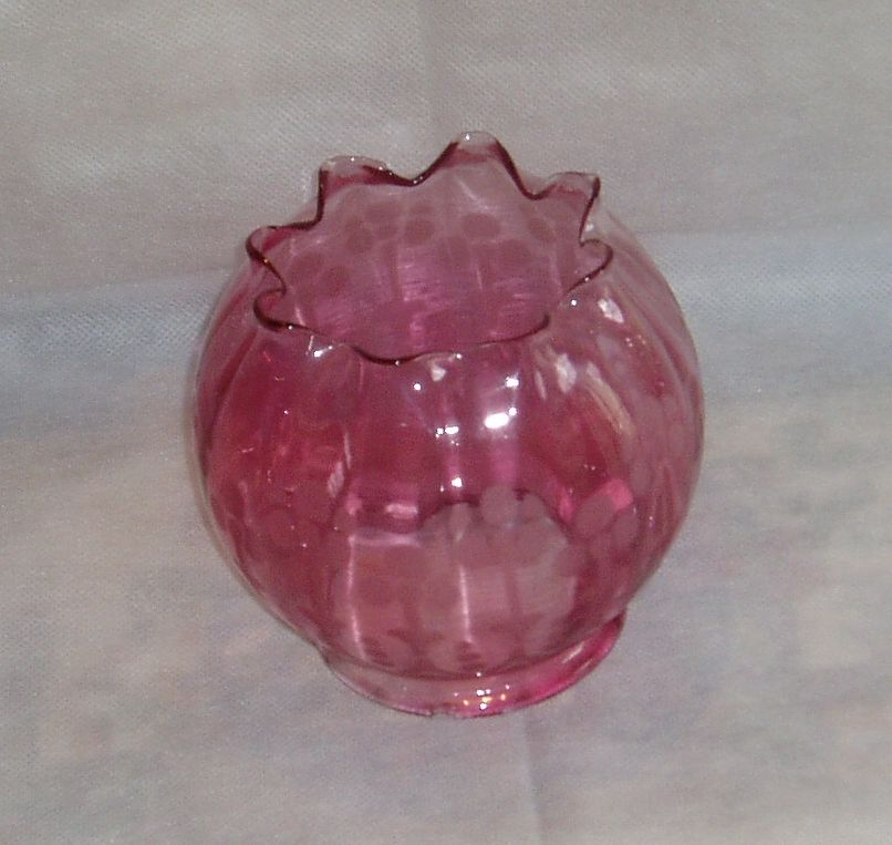 Vintage Cranberry Etched Lamp Shade