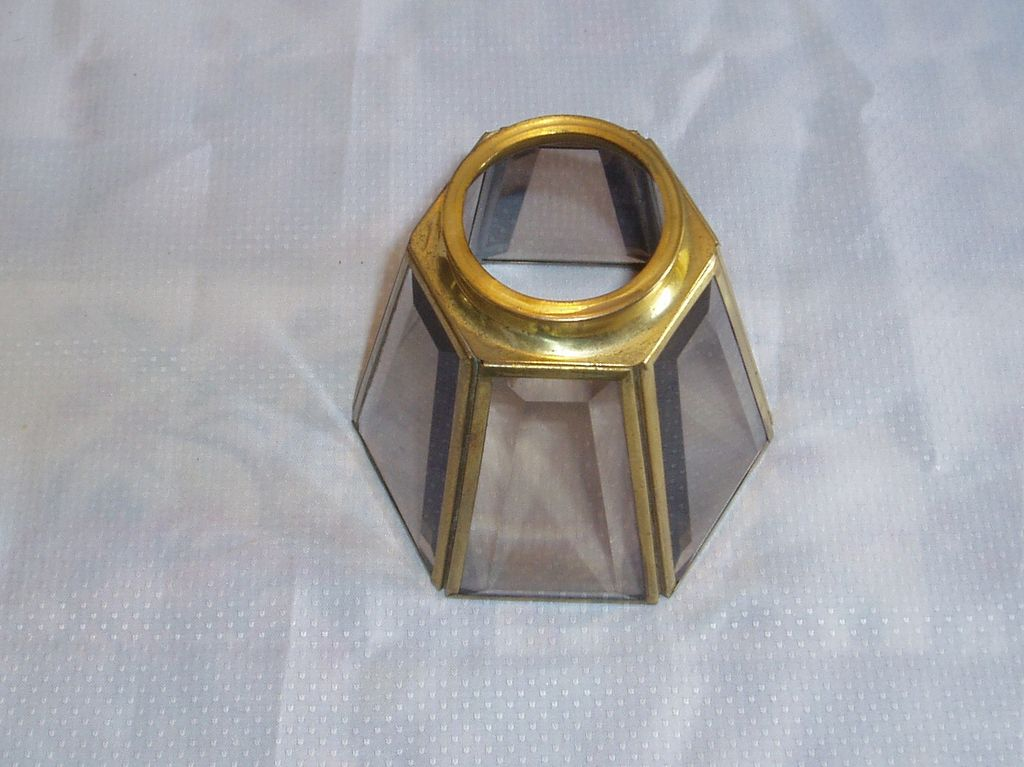 Arts & Crafts Style Brass and Glass Lamp Shade