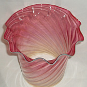 Cranberry opalescent swirl glass oil /gas shade