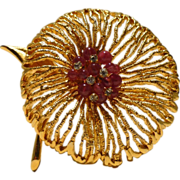 Elegant Poppy Brooch with Raspberry Glass and Rhinestones