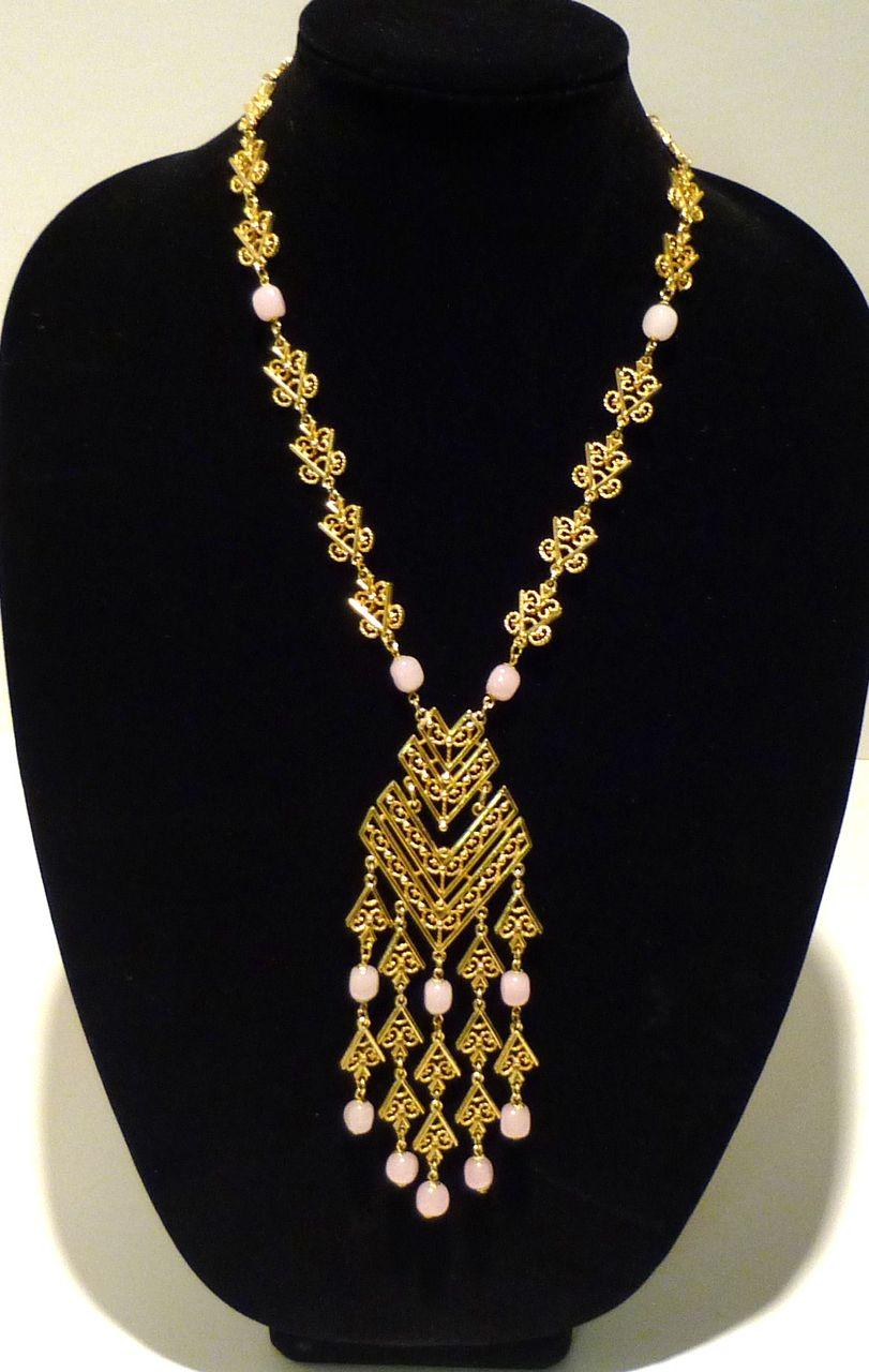 Vintage Ethnic Necklace with Faux Rose Quartz