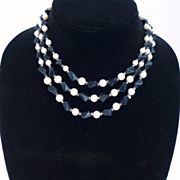Vintage Three-Strand Necklace of Faux Onyx and Simulated Pearl