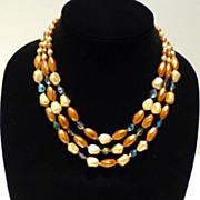 Three Strand Caramel Art Glass Bead Necklace