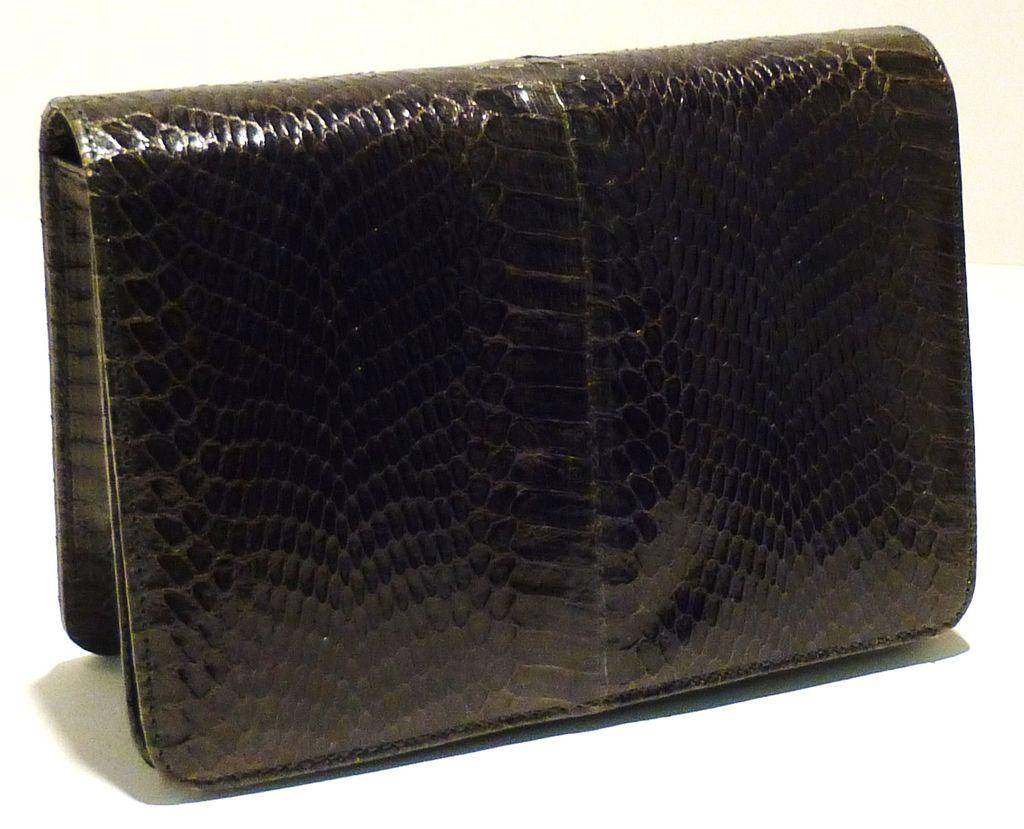Forest Green Vintage Cobra Skin Clutch