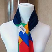 Vintage Yves St. Laurent Block Color Silk Scarf