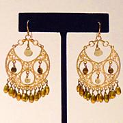 Vintage Hoop Earrings with Filigree and Tiger Eye