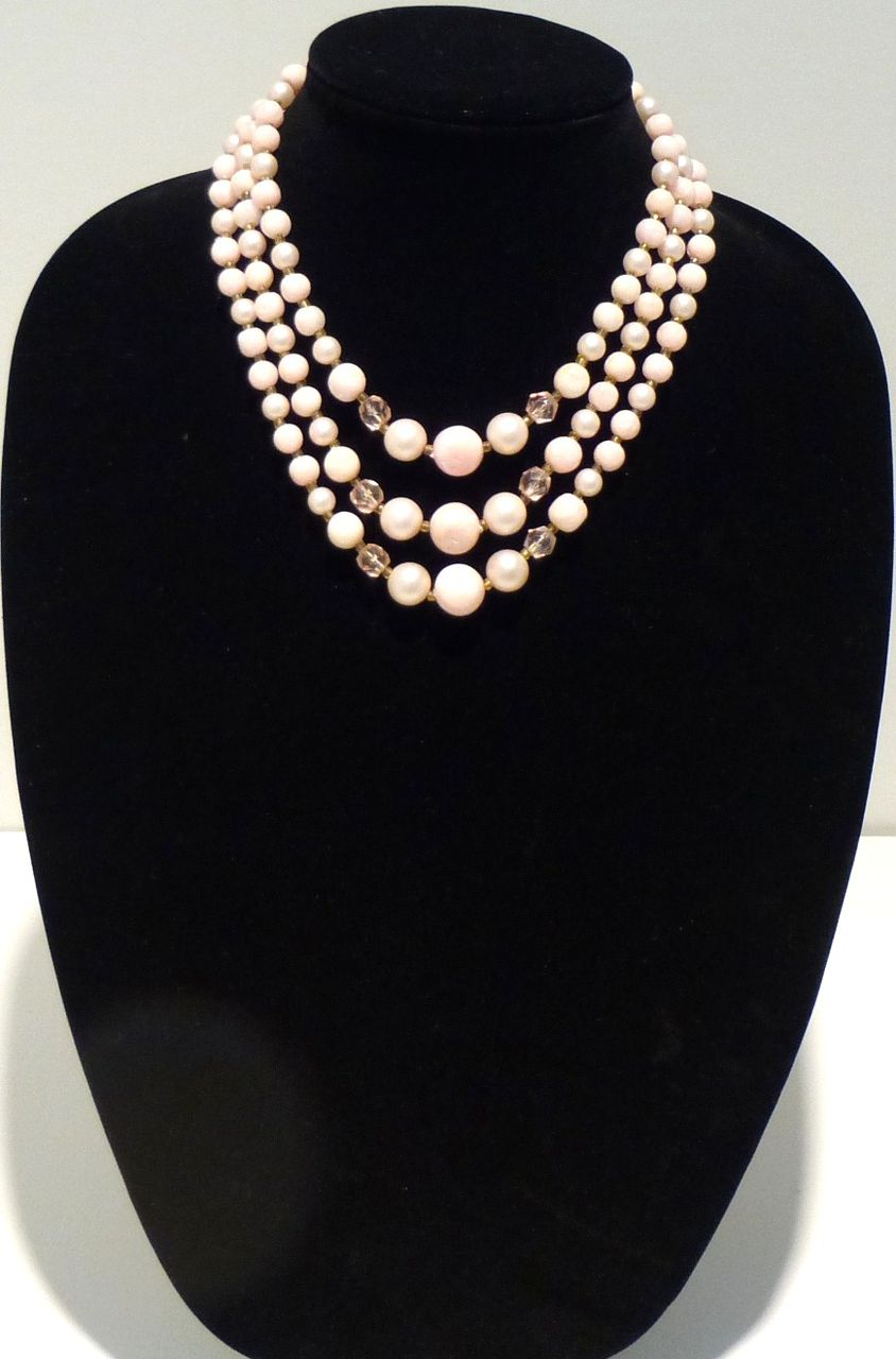 Mid-Century Vintage Three-Strand Pastel Pink Necklace
