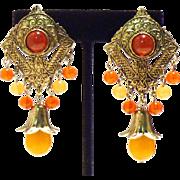 Stylish Ethnic Chandelier Earrings in Faux Amber and Carnelian