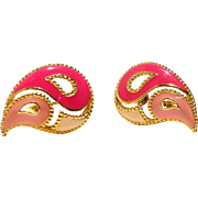 Collectible Book Piece! Avon Paisley Three-Tone Enamel Earrings