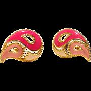 Collectible Book Piece! Avon Paisley Three-Tone Enamel Earrings