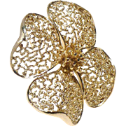 Elegant Lisner Dogwood Flower Brooch in Silver Tone
