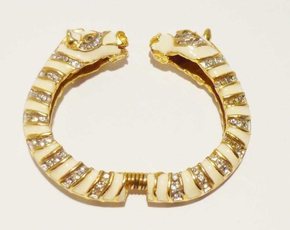 Vintage Kenneth Jay Lane Zebra Demi-Parure -- Clamper, Earrings and Ring
