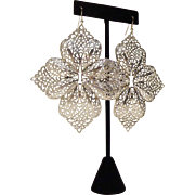 Spectacular Runway Silver-Tone Filigree Earrings