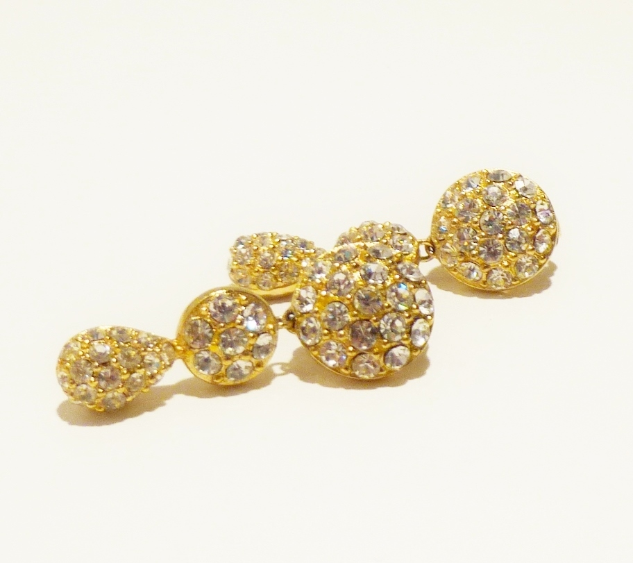 Christian Dior Rhinestone Pave Chandelier Earrings From