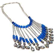 Flapper style sapphire-blue bib fringe necklace -- Very Gatsby!