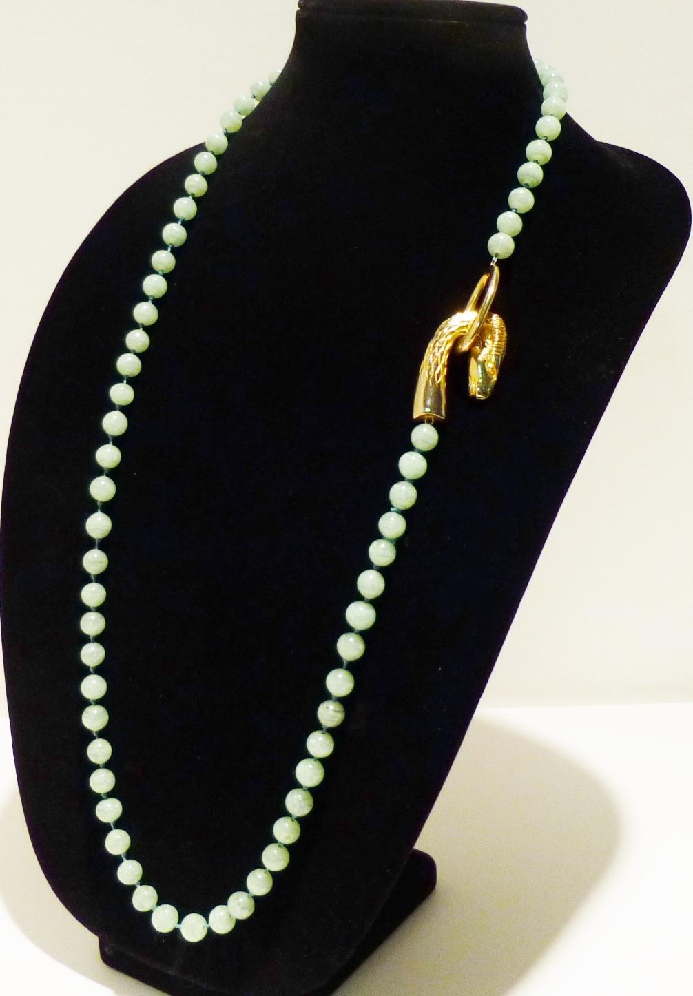 RARE! Unique Jade Necklace with Ram's Head Clasp