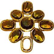 Byzantine Style Maltese Cross Brooch & Pendant in Topaz Glass