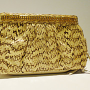 Cobra Snakeskin Clutch with Rhinestone Detail