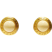 Oscar de la Renta Earrings with Greek Key Pattern in Ivory Color and Gold Tones