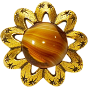 Floral / Starburst Brooch in Gold Tone and Art Glass Banded Agate